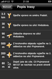 Výpis trasy