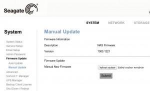 Ruční upgrade firmware NAS 110