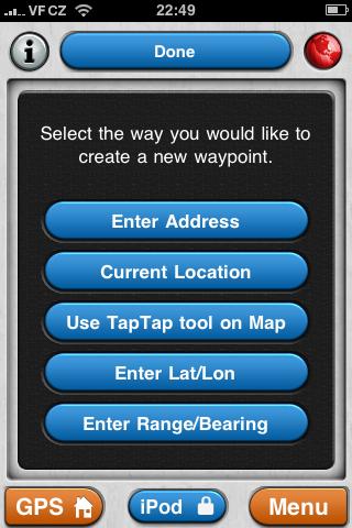 Zadávání waypointů MotionX GPS